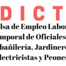Edicto bolsa de empleo laboral temporal de oficiales de albañilería, jardineros, electricistas y peones.
