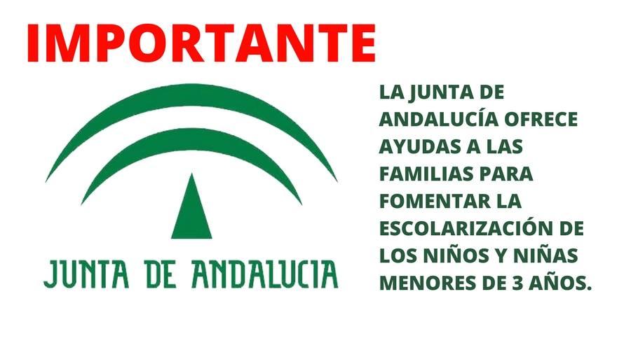 La Junta de Andalucía ofrece ayudas a las familias para fomentar la escolarización de los niños y niñas menores de 3 años.