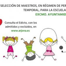 Edicto Admitidos/Excluidos Selección Maestros para la Escuela de Verano del Excmo. Ayuntamiento de Arjona